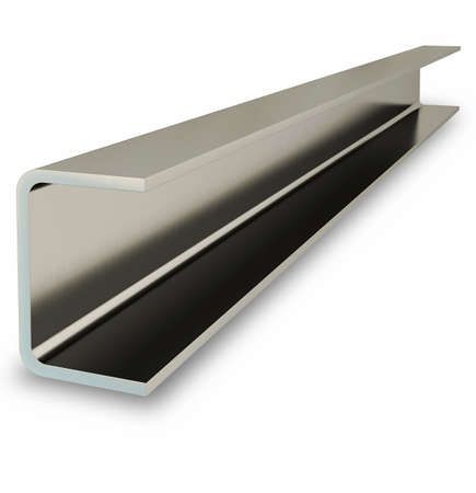 Steel channel beam isolated on white background. 3D rendering 免版税图像