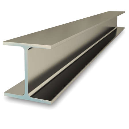 Steel flange beam isolated on white background. 3D rendering