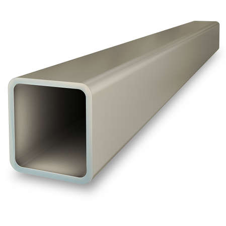 Steel profile pipe isolated on white background. 3D rendering