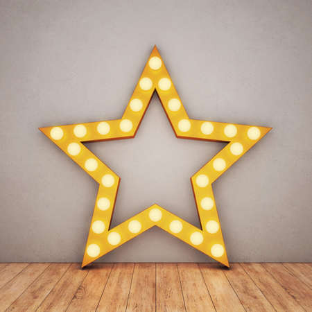 Golden retro star on concrete background and wooden floor. 3D rendering Stock fotó