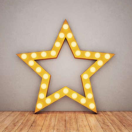 Golden retro star on concrete background and wooden floor. 3D rendering Archivio Fotografico
