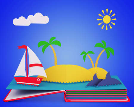 Pop Up Book With Yacht And Tropical Island In Ocean. 3D rendering