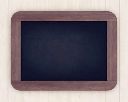 Chalkboard on a light wooden background. 3D rendering Stock Photo