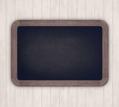 Chalkboard on a light wooden background. 3D rendering 스톡 콘텐츠