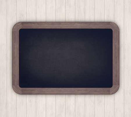 Chalkboard on a light wooden background. 3D rendering 写真素材