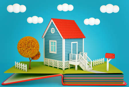 Pop up book with a suburban home and tree. Autumn time. 3D rendering