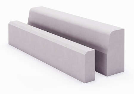Curbstone on white background. 3D rendering