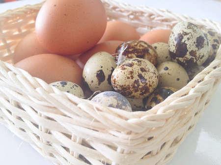 colour: Closeup eggs in basket