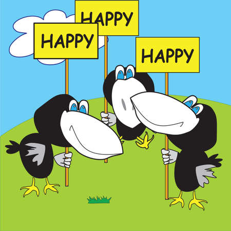 congratulatory: Three funny happy cartoon crows on the green lawn with a congratulatory poster  Illustration