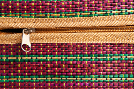 Colorful fabric texture with zipper Stock Photo