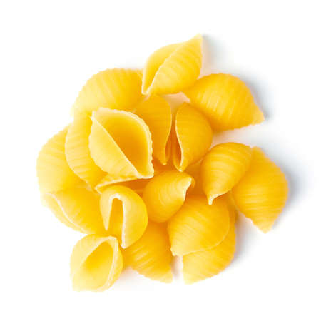 heap of pasta on white background Stock Photo