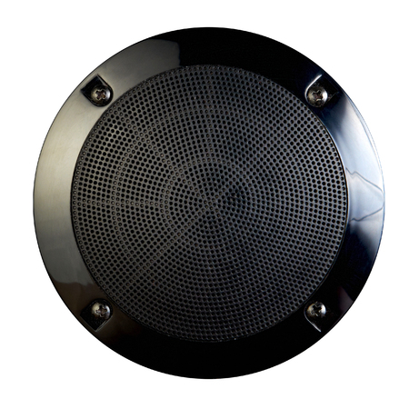 Close-up view of load speaker on white Stock Photo - 22448040
