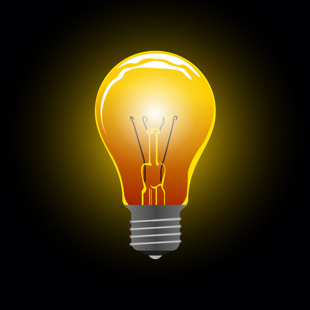 Light bulb on black background Illustration