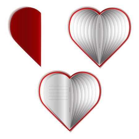Valentines Day Vector Book Set.  Heart Shape. Illustration