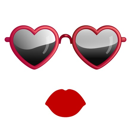 Heart Sunglasses And Lips Isolated On White Illustration