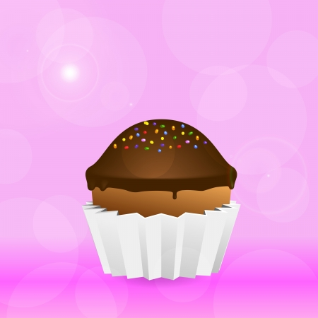 Vector Cupcake On Pink Background Vector