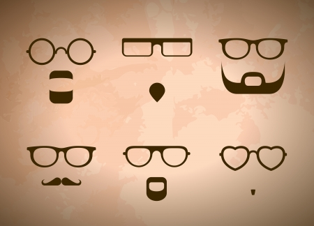 Silhouettes Of Mens Glasses And Beards Vector
