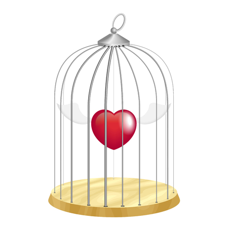 prisoner of love: Cage with flying heart inside on white