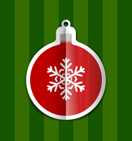 Christmas Ball Cutted From Paper On Green