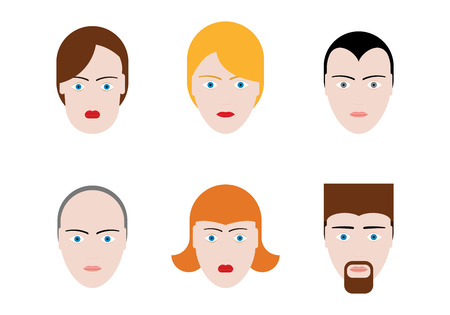 Simple Faces On White. Vector Set. Stock Vector - 23654827