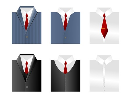 Set of vector clothes icons on white