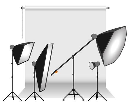 Photo studio equipment. Vector illustration. Ilustração