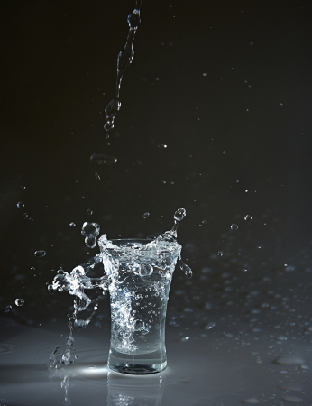 Vodka glass with splashes photo