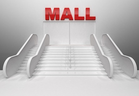 3D render of shopping center building with stairs