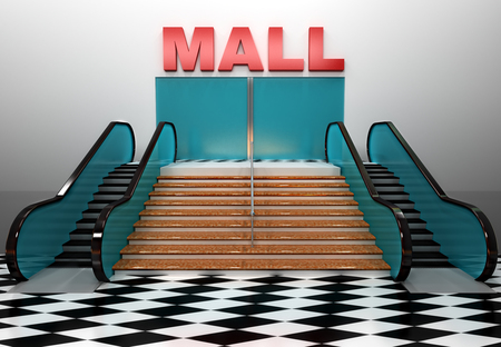 Render of shopping center building with stairs