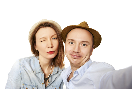 Making selfie Standard-Bild