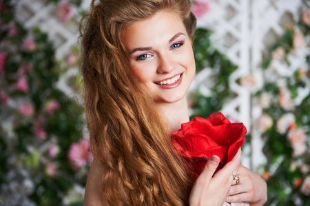 pretty dress: pretty attractive woman in dress with rose