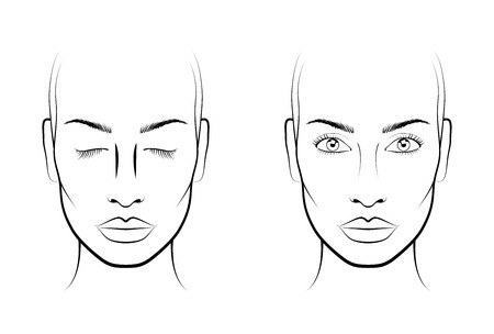 Young woman. Face chart Makeup Artist Blank. Template.