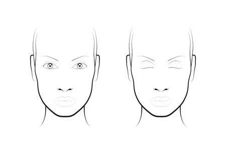 make up face: Young woman. Face chart Makeup Artist Blank. Template.