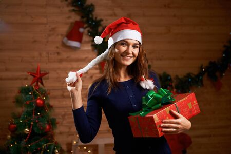 Portrait of a young woman with gift Stock Photo
