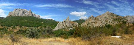 Panorama of Mountains in Crimea Stock Photo
