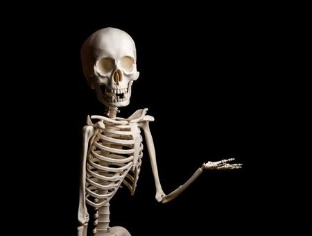 Skeleton shows something on black background