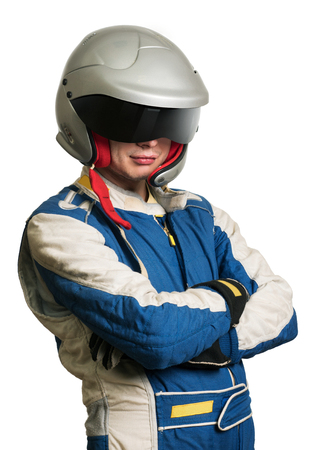 Professional formula pilot wearing a racing suit for motor sports.