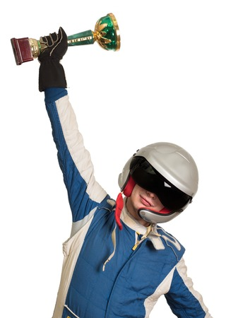Portrait of a male racer winner with a gold trophy cup isolated on white background