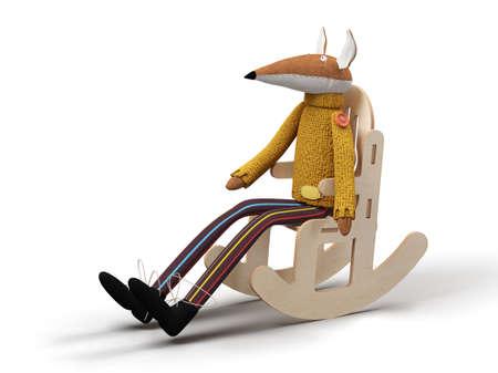 Doll sitting alone on a rocking chair 3d render Standard-Bild