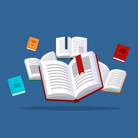 Illustration de livres. Recherche en bibliothèque. Concept de bourse.