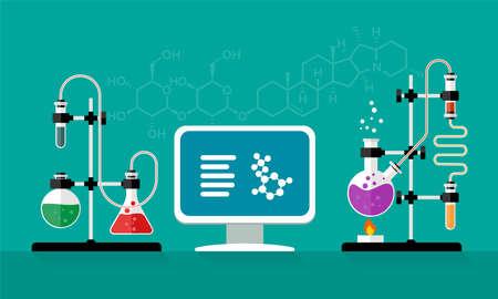 Equipo de laboratorio de química y ciencia. Experimento químico. Frascos de vidrio con solución en laboratorio de investigación. Conceptos para banner web y material promocional. Ilustración de estilo plano.