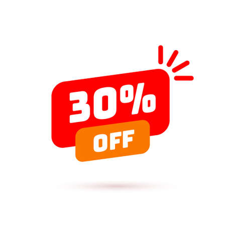 Tag with discount offer. Low cost icon. Promo icon in flat style. Vector promotion red label.
