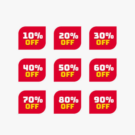Tags set with discount offer. Low cost icon. Promo icon in flat style. Vector promotion red labels.