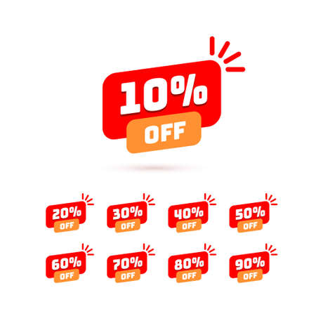Tags set with discount offer. Low cost icon. Promo icon in flat style. Vector promotion red labels. Illusztráció