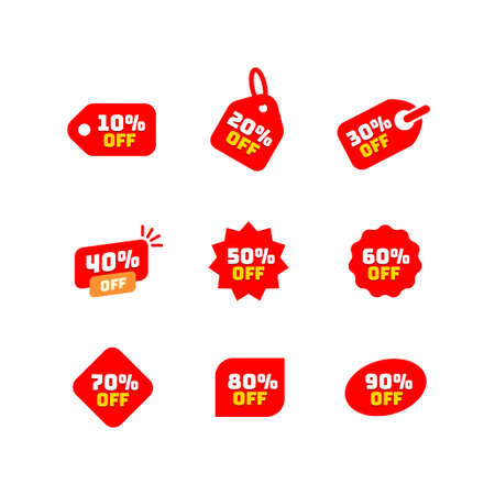 Tags set with discount offer. Low cost icon. Promo icon in flat style. Vector promotion red labels. Illustration