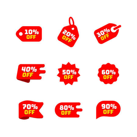 Tags set with discount offer. Low cost icon. Promo icon in flat style. Vector promotion red labels. Ilustração