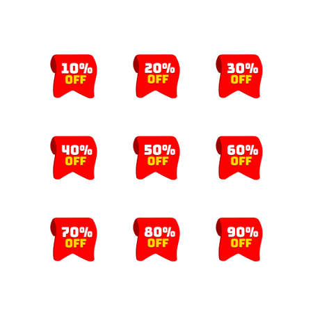Ribbons tags set with discount offer. Low cost icon. Promo icon in flat style. Vector promotion red labels. Illustration