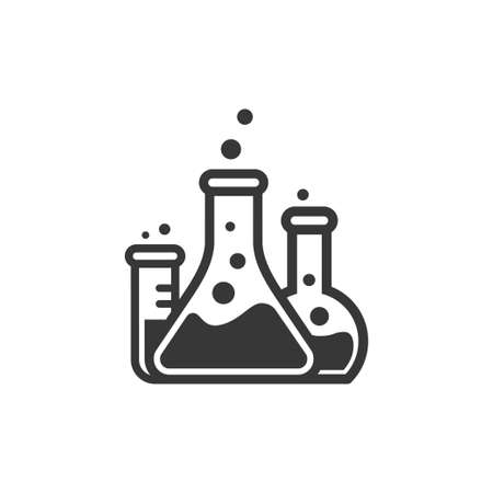Laboratory beakers icon. hemical experiment in flasks. hemistry and biology symbol. Science technology. Isolated black object on white background.