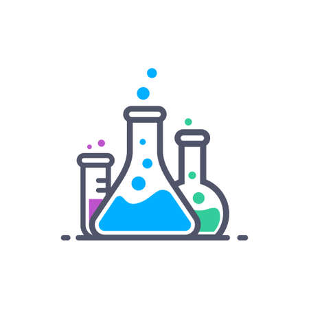 Laboratory beakers icon. ?hemical experiment in flasks. ?hemistry and biology symbol. Flasks vector illustration. Science technology. Isolated black object on white background. Çizim