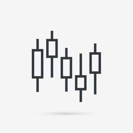 Candlestick chart icon. Stock marke exchange simbol. Vector illustration isolated on white background.